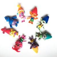 Vente en gros DreamWorks Trolls PVC 8pcs Figurines d'action Trolls Poupée Jouets pour les enfants Cadeau de Noël jouet GRATUIT DHL