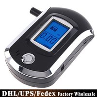 Wholesale Free DHL Fedex AT6000 Digital Professional Alcohol Tester LCD Display Breath Alcohol Meter Breathalyzer