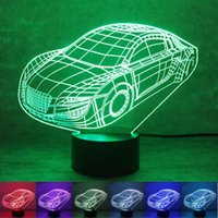 automobile color - 3D Audi Automobile LED Night Light Bedroom Table Lamp Color Changing Decorative Nightlight New Arrival For Valentines Day rm