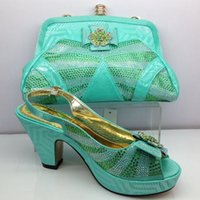 african shoe bag - 2017 fashion African shoes and bag set high heel pumps for wedding and party in teal color