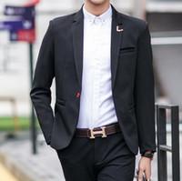 al por mayor traje formal de un solo botón delgado-Hombres Traje Chaquetas Blazers Vestido Trajes Hombres Casual Moda Único Botón Estilo Casual Slim Hombres Chaquetas costumbre
