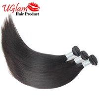 Extensión recta 2pcs / lot del pelo malasio de la Virgen El envío libre Uglam el pelo humano teje puede ser teñido Ningún enredo Paquetes de calidad superior del pelo