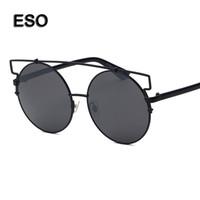 al por mayor gafas de sol del ojo de gato color rosa con marco-Gafas de sol de gafas de gato de mujer ronda marco grande gafas de sol de moda para mujer marrón rosa negro naranja gris gafas de marca gafas de sol de mujer