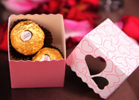 Wholesale Cut Gift Box - Love Heart Purple Pink Small Laser Cut Candy Bag Wedding Party Favor Gift Candy Boxes Ribbon Casamento Event Decorations