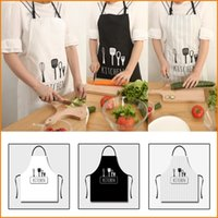 Wholesale Fashion Knife Fork Design Women Men Kitchen Apron Home House Chef Restaurant Cooking Baking Dress Black White Stripe