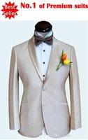 Wholesale 3 pieces Suit Champagne Groom Tuxedos Shawl Lapel Two Button Best Men tton Best Men Wedding Suit Prom Dresses Jacket Pants Tie