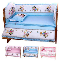 Wholesale Hot CM Baby Bedding Sets Include Pillow Bumpers Mattress Mickey Minnie Mouse Baby Cot Bedclothes Decoration In Set