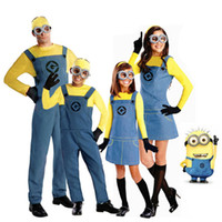 Cheap Children's Minions Costume Halloween Anime Mini Despicable Me Cosplay Costumes Suits Boys Girls Kids Party Parent-child Clothes