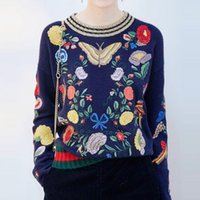Wholesale MYRAN European Embroidery Butterfly Bird Blouse Tops Clothes Cashmere Sweater Women Sweaters For Woman