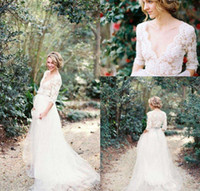 Wholesale Newest Bohemian Country Lace Wedding Dresses with Half Sleeves Plunging Neckline Beading Sash Tulle A Line Bridal Gowns Plus Size