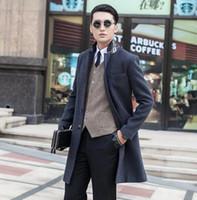 Precio de Solo botón abrigos negros-Las chaquetas de color caqui negro gris de la manga del juego de la manga cubren las chaquetas y las capas de los hombres las lanas delgadas delgadas de los hombres juntan la capa de foso del invierno 9XL