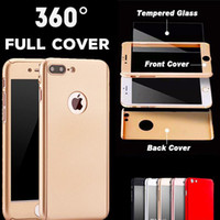 Wholesale Ultra thin Hybrid Luxury Degree Full Body Protection Cover Case For iPhone s s Plus With Tempered Glass For iphone Case