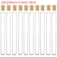 Wholesale Glass Test Tube With Cork Stopper inch x150 mm Borosilicate Glass WallThickness mm ml Pack