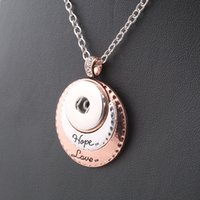 Wholesale Vintage women s Hope Love charms necklace mm snap button necklace with Link chain woman DIY jewelry ZG054
