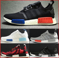 Wholesale NMD Runner Shoes NNM R1 Monochrome R Mesh Primeknit Triple White Black NMD R1 Women Men Running Shoes Sneakers Sports Shoes