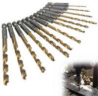 Wholesale 13pcs set HSS Twist Drill Bit for Metal Titanium Coated Drill Hex Shank mm Screw Extractor Drill Bits Guide Set