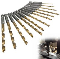 13pcs / set HSS Twist foret for Metal Titanium Coated Drill 1/4 Hex Shank 1,5- 6,5 mm Screw Extractor Drill Bits Guide Set