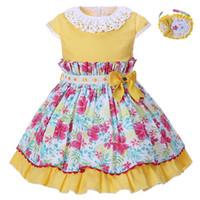 al por mayor cuello vestido de encaje de color amarillo-Pettigirl Pascua Amarillo Flower Girls Vestidos Verano Niños Vestido Con Headwear Lace Collar Traje Para Niños Boutique Ropa
