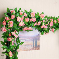 beautiful leaves - Artificial Rose Garland Silk Flowers Vine Ivy Home Wedding Garden Floral Decor Wall Mounted Beautiful Romantic Leaves Vines