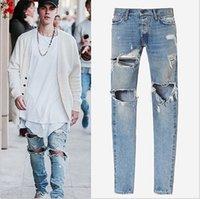 Wholesale Famous Brand Designer KANYE Justin Bieber Men Jeans Fear Of God Ripped Jeans Blue Rock Star Mens Jumpsuit Designer Denim Male Pants J03