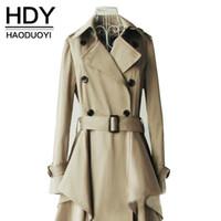 Wholesale HDY Apparel Double Breasted Belt Trench Coat Khaki Asymmetrical Hem Long Sleeve Coat Office Lady Stylish Outwears Women Clothes