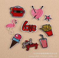 Wholesale 9pc Mixed Patches For Clothing Iron On Embroidered Appliques DIY Apparel Accessories Patches For Clothing Fabric Badges