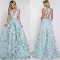 Wholesale Sexy D Floral Appliqued Prom Dresses Long Deep V Neck Party Dress Floor Length Illusion Back Tulle Formal Evening Gowns