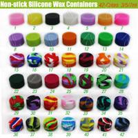 Wholesale Top Silicone Non stick Wax Containers Food grade Colors mL mL mL mini Jar Dab Waxy Jars Concentrate Case FDA approved e cigs box DHL