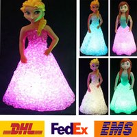 batteries doll - Led Light Doll Toys For Elsa Anna Children Colorful Lights Crystal Night Light Lamp With Battery Xmas Gifts Home Decoration PX T08