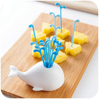 Wholesale 16pcs Set Lovely Dinnerware Sets Cute Whale Moby Dick Beluga Spray Vegetable Fruit Fork DHL Shipping Free