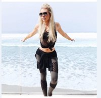 Wholesale 2016 New Women Yoga Pants Hollow Gauze Stitching Sports Fashion Leggings Sexy Middle waist Yoga pant for doing sports