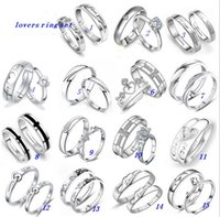 Wholesale Couples Rings New Brand Open Size White Gold Silver Lovers Ring With AAA Zircon Crown Ring Set Mix Designs MZ