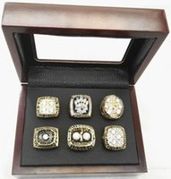 Wholesale 6 Sets Football Steeler super bowl Championship Ring with wooden box