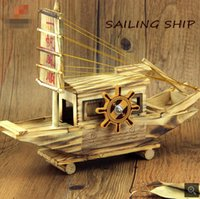 Wholesale Manufacturers smooth wooden music creative sailboat sailing music box home furnishing articles of handicraft