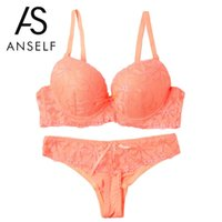 Bra Sets sexy polyester ANSELF Sexy Women Lace Embroidery Bra And Brief Sets Underwire Bra Panty Set Push Up Bralette Thong Underwear Set Lingerie Suits