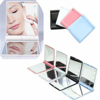 Wholesale Cosmetic Mirror LED Light Mirror Desktop Portable Compact LED lights Lighted Travel Make up Mirror Flip Cover Mirror OTH312