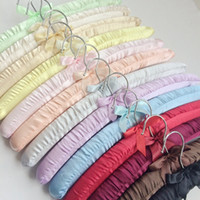 Wholesale women Non trace package cloth silk satin fabric hanger hotel maintain child clothes horse sponge cloth hanging clothes cm lenght