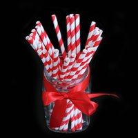 Wholesale Pack of Red Striped Paper Drinking Straws Creative Drinking Tubes Wedding Decorating Tools Party Supplies