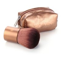 aluminum beauty cases - Makeup Brush Brown Mini PU Leather Bag Case Aluminum Handle Fiber Bristles Brown Face Powder Blush Brushes Beauty Tools