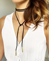 Wholesale factory price wholsales mm SILVER Gold Tube Black Faux Suede Cord String Wrap Bolo Tie Choker Necklace