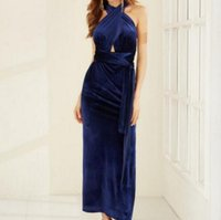 Wholesale Sexy Backless Cross Banded Dress Blue NS16112901