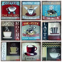 Wholesale 30 cm coffe sign Nostalgia Sign Wall Decor Vintage Craft Art Iron Painting Tin Poster Cafe Shop Bar Club Home Decorate