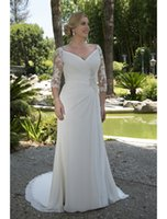 beach figures - Lace Chiffon Informal Modest Wedding Dresses Modest Ruched Long A line Reception Bridal Gowns For Full Figure Women Bride