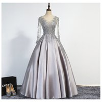 Wholesale Elegant Silver Evening Dresses A Line Scoop Illusion Lace Up Long Sleeves Floor Length Appliques Beading Real Picture Prom Gowns