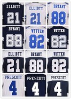 Wholesale Mens DEZ BRYANT DAK PRESCOTT EZEKIEL ELLIOTT Jason Witten Blue White Throwback elite Jerseys