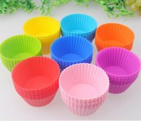Wholesale Silicone Muffin Cases Cake Bakeware Cake cup Candy Color Cake molds mixed color