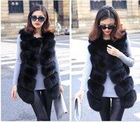 Wholesale Brand Faux Fox Fur Vest Winter Warm Long girls Vest Furry Slim Woman Fake Fur Coats Plus Size Fur Outerwear High Quality