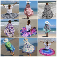 Wholesale Womens Round Beach Towels Carpets Printed Tablecloth Bohemian Beach Towel Serviette Covers Shawl Wrap Yoga Mat Washcloth Designs Mix mr