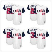 Wholesale Men s USA Baseball Andrew McCutchen Giancarlo Stanton Buster Posey Eric Hosmer Jerseys Stitched World Baseball Classic T Shirt