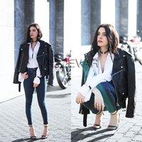 Wholesale 2016 New Autumn Fashion Street Women s Short Washed PU Leather Jacket Zipper Bright Colors New Ladies Basic Jackets Good Quality